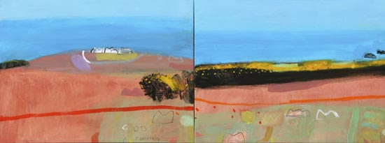 EllainPamphilon_gorse path to zennor- diptych 60x160cm mixed media on canvas