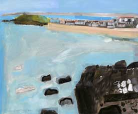EllainPamphilon_porthmeor from man's head. mixed media on canvas 100x120cm