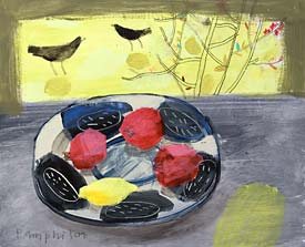 Elaine Pamphilon   Sunlight through Japonica and Pommegranites on Nigel's Plate
