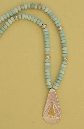 Hemimorphite, Silver and 18 ct Gold Necklace