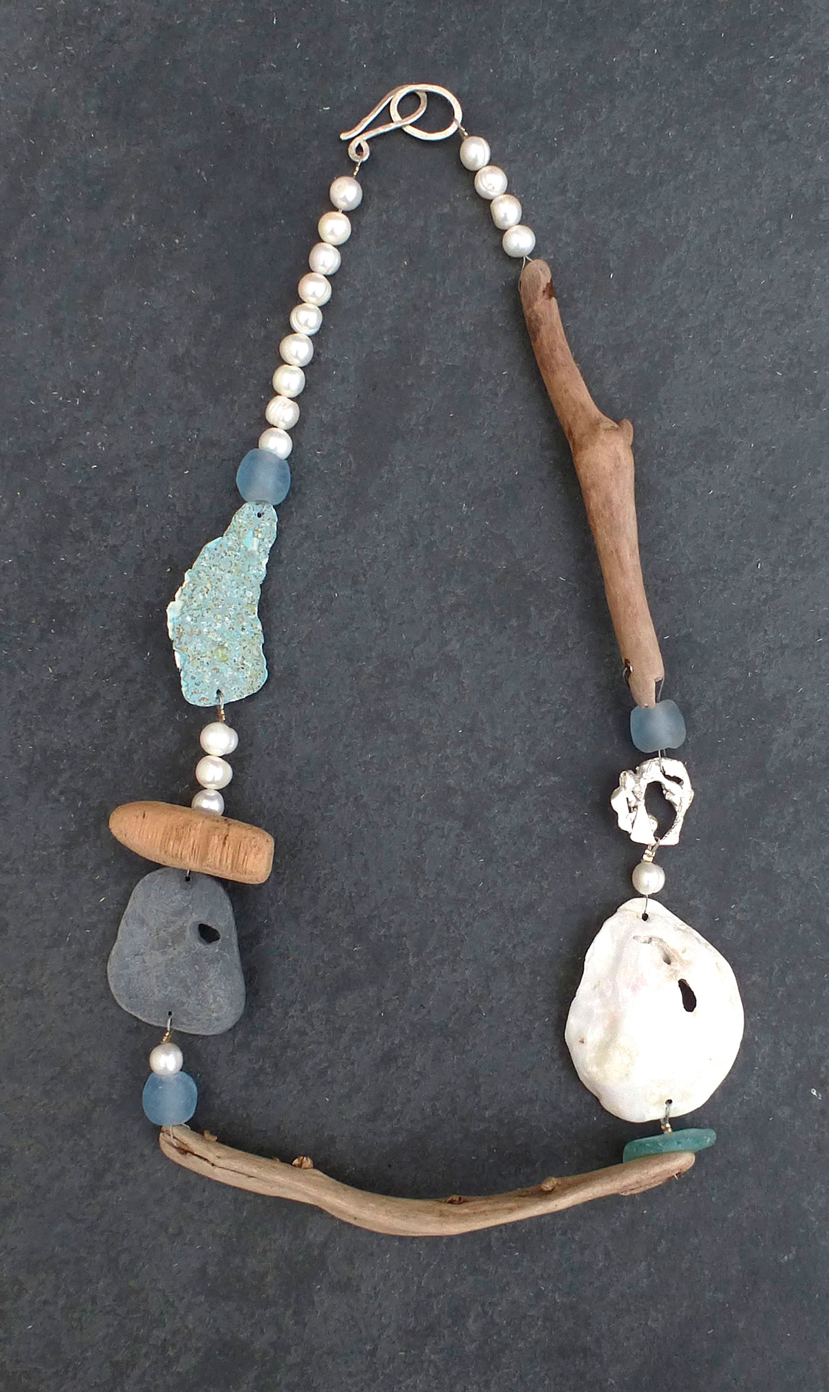 Driftwood and pearl necklace SARAH DREW