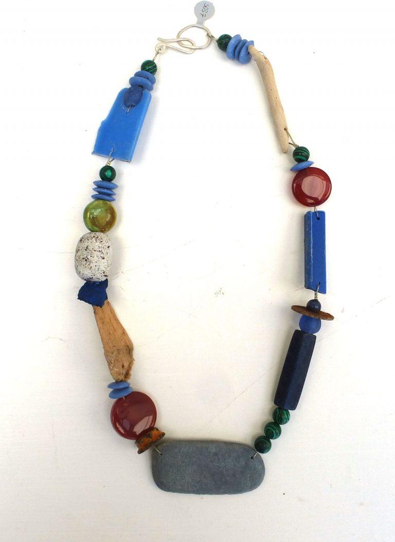 SARAH DREW - SD37 - slate, beach plastic, carnelian, malachite - Necklace £124